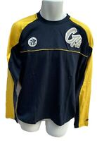 New Vintage NIKE CORTEZ  Long Sleeved Soft Cotton Tee Shirt Navy Blue Yellow L