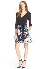 Diane von Furstenberg Valerie Wrap Dress in Black Daze Sky Mauve US sz 14 $548