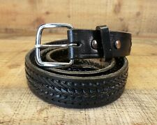 Braided Stitched Leather Woven Mexico Distressed Black 38 40