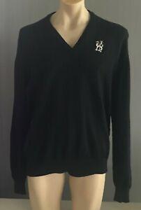 Mens KNIT JUMPER Dragon Logo Black V-Neck Long Sleeve Sweater Size XXXL 126cm