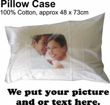 Pillow case cover cotton with your full colour custom image and text on it.