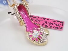 Betsey Johnson fashion jewelry Cute White Crystal high heels pendant necklace #A