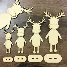 MDF Freestanding Reindeer Rudolph Christmas Decoration Xmas Wooden Craft Blank