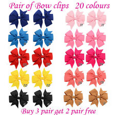 "3 Inch 3"" Baby Girls kids Ribbon Hair clip Alligator Bows clips School bow Pair"