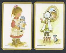 #920.145 Blank Back Swap Cards -MINT pair- Girl with doll & Girl with mirror