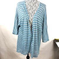 Lularoe Lindsay Women's Kimono Open Front Cardigan Size M Blue White Stripe 31P
