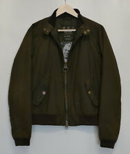 £229 Mens Barbour Steve McQueen Wax Merchant olive bomber jacket Medium Small