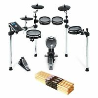 Alesis Command Mesh Kit Electronic Drum Set Bundle with 12-pack of Drum Sticks