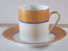 Vintage Confiserie Heidel Porcelain Demitasse Cup & Saucer 14K Gold Trim