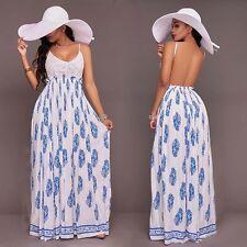 Women Summer Backless Boho Long Maxi Evening Party Beach Dress Sundress JUN