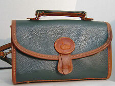 Gold Duck Leather Purse Hand/Shoulder bag Green w/Brown Trim Leather