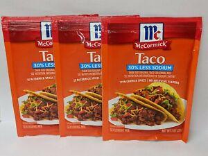McCormick Taco Seasoning Mix 30% Less Sodium Packets (3 Spice Packs) 1oz /each