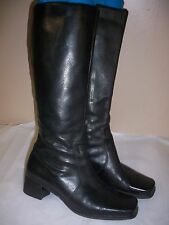 "CUTE/COMFY CARESSA 2"" BLOCK HEEL SOFT BLACK LEATHER KNEE HIGH BOOTS 7.5M"