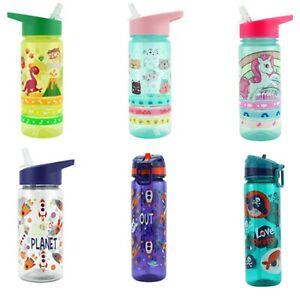 Kids PoP UP Straw Canteen Drinking Water Bottle Juice School Travel BPA Free 3+Y