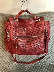 Junior Drake GAIL Dark Red Cranberry Pleated Leather Purse Convertible Bag