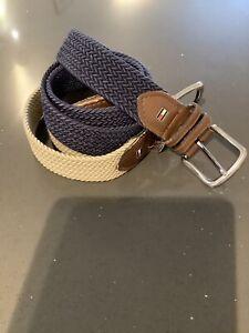 Mens Tommy Hilfiger Stretch Belts, 1 Navy, 1 Beige. Leather Trim, Size 32-34.