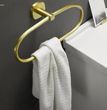 Modern Zinc Alloy Brushed Gold Bathroom Accessory Round Towel Ring Holder Rack
