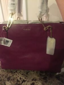 Coach 26769 Madison Leather East West Tote Shoulder Bag Purse CRANBERRY Pink NWT