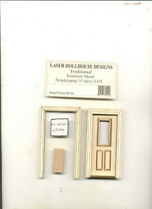 Half Scale - Exterior Door LD237  dollhouse wooded miniature 1/24 scale
