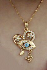 18k Gold Filled Blue Evil Eye Heart Pendants Fashion Jewelry - FREE Necklace