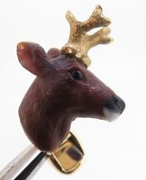 .A Fine Pair Of Paul Longmire 18k Gold Carved Stag Cufflinks