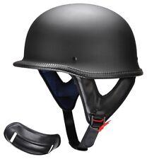 German Style Motorcycle Half Helmet Open Face DOT Cruiser Chopper Skull Cap L