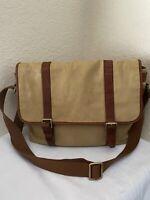 Fossil Estate EW Khaki Twill Brown Leather Trim Messenger Bag