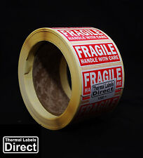 1000 x Fragile Handle With Care Labels Stickers ON A ROLL - 62x25- FRA_62x25_001