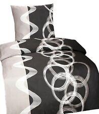 4 tlg Bettwäsche Kissenbezug Bettbezug 155x220 Mikrofaser Sarah Grau Garnitur