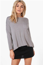 NEW, BOOHOO Oversized Fine Knit Slouchy Jumper, One Size (Grey)