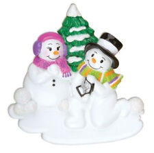 Engagement Snow Couple Personalized Christmas Tree Ornament