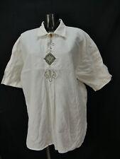 Gr.XL Trachtenhemd Hemd Imperial weiß Leinen Edelweiß Steinbock Stickerei TH1334