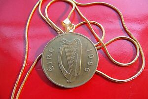 """1986 IRELAND BRASS HARP COIN PENDANT On a 24"""" Gold Filled Round Snake Chain"""
