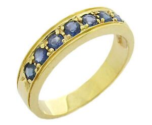 R077 Genuine 9K 9ct Gold Natural Sapphire Wedding Eternity Ring Band in yr size