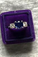 4ct Round Cut Blue Sapphire Diamond Trilogy Engagement Ring Solid 14k White Gold