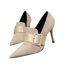 Women's High Heels Pumps Fashion Snake Pattern Buckle Suede Pointed Toe Shoes