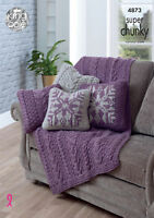 Knitting Pattern for Blanket Throw & Cushion Covers King Cole Super Chunky 4873