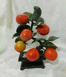 Vintage Chinese Carved Jade Glass Bonsai Fruit Tree in Black Marble Pot