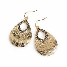 Gold Hematite Colour Crystal Oval Drop Earrings Ladies Fashion Jewellery