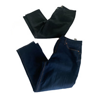 Chicos Womens So Lifting/Slimming Cropped Jeans Blue Black Pockets M/8 Lot of 2