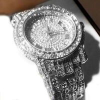 TECHNO PAVE ICED OUT WHITE GOLD FINISHED LAB Crystal WATCH and RING#2 SET TP12S