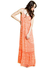 Juicy Couture 'Fan Festival' Silk Maxi Dress Sz S - Coral Print - Beautiful!