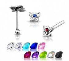 1 22g 6mm Silver Butterfly Clear Cz Gem Nose Stud N086