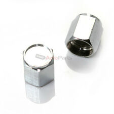 (2) CHROME silver Tire/Wheel stem VALVE CAPS COVERS for Motorcycle Bike Bicycle