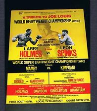RARE 1981 Larry Holmes vs Leon Spinks Dokes Page boxing poster JOE LOUIS tribute