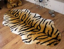 Tiger Animal Print Faux Fur Double Sheepskin Style Rug 70 x 140cm Washable