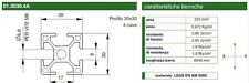 PROFILO ALLUMINIO 30X30 4 CAVE - 1 METRO - LEGA EN AW 6060