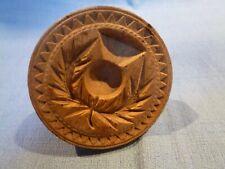 Antique Treen Circular Wooden Butter Stamp Thistle Design