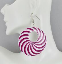 """Pink White Grey disc earrings painted swirl medallion dangle wood hoop 2.5"""""""