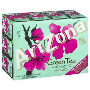 Arizona Green Tea With Ginseng and Honey Antioxidants 11.5 Fl oz 24 Count